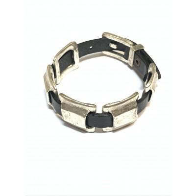 Bracciale fascia in cuoio con inserti mobili in zama